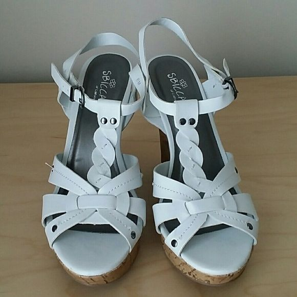 White wedge sandals Only worn once to wedding wedge sandals very comfortable Sbicca Shoes Wedges