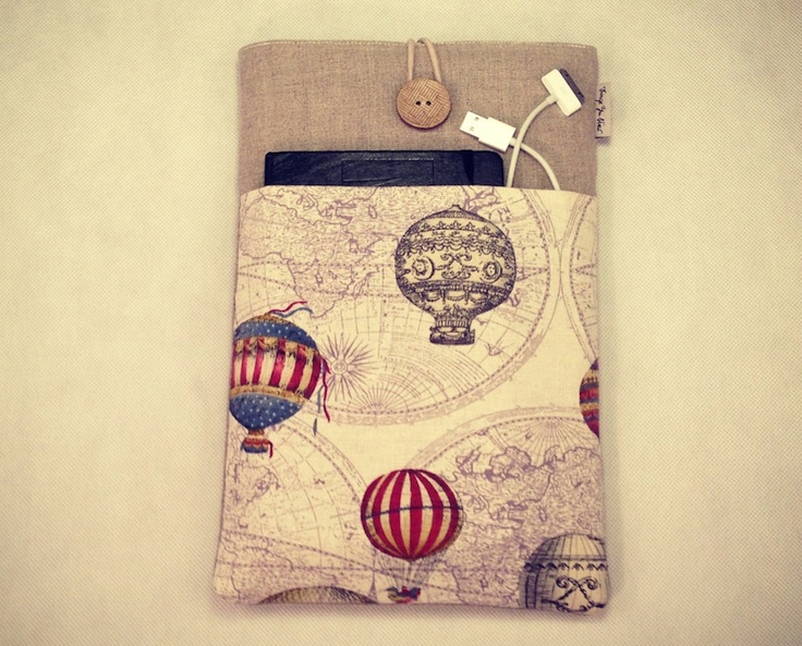 """Macbook Air 13 inch, Laptop Sleeve Linen Fabric With World Map Print Pocket and Button On Top - """"Balloons"""". $38.90, via Etsy."""