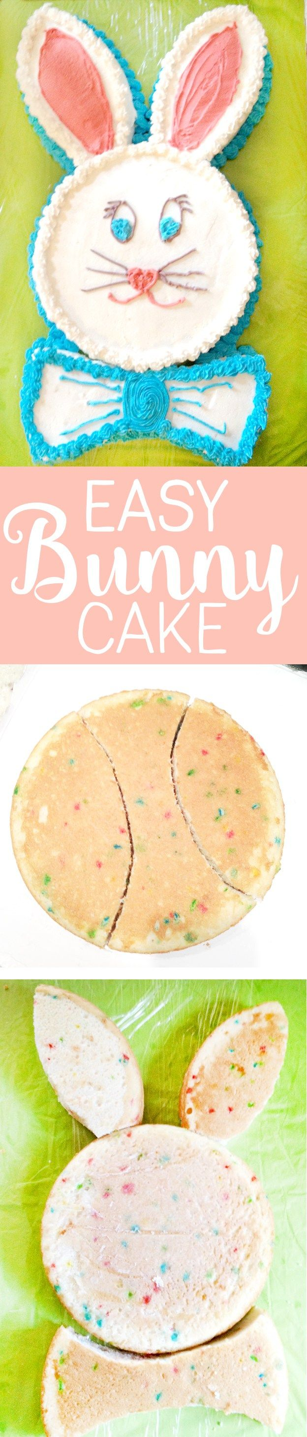 Easy Bunny Cake! Use 2 8 inch round cakes to make this super simple cake for Easter! So fun!
