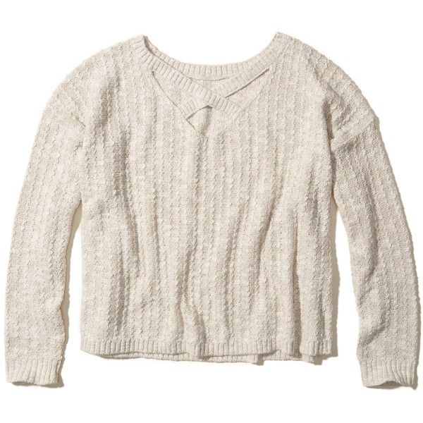 Hollister Strappy Reversible Sweater (€25) ❤ liked on Polyvore featuring tops, sweaters, cream, cream top, hollister co. sweaters, strappy top, cream pullover sweater and spaghetti-strap top