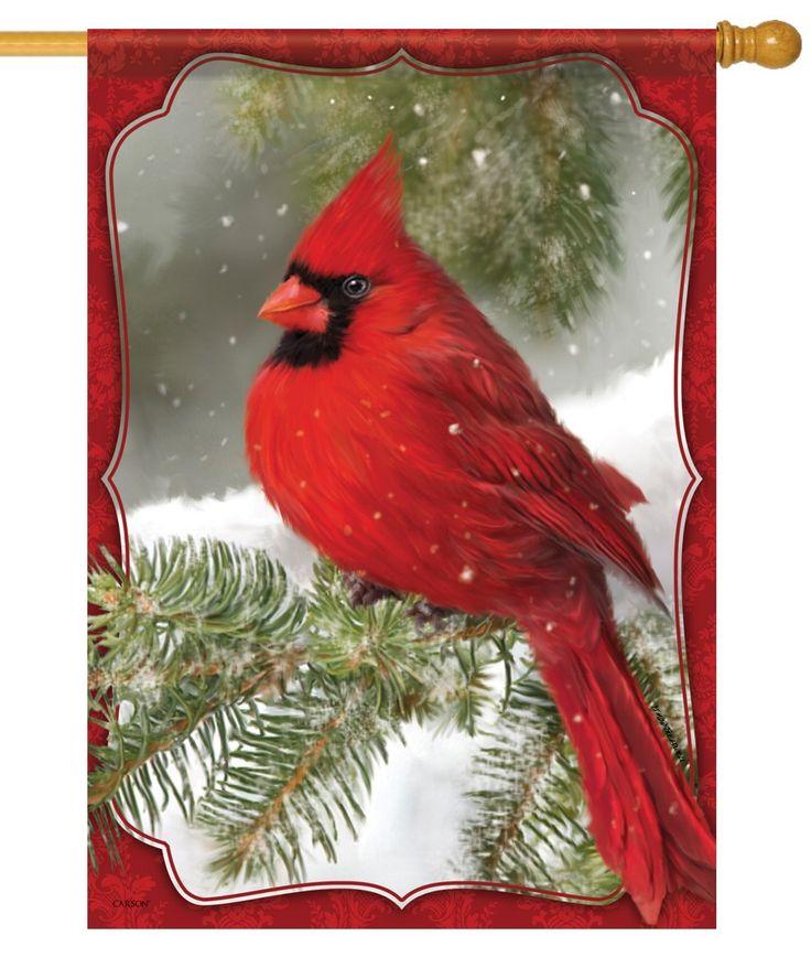 Delightful Winter Garden Flags Part - 10: IAmEricas Flags - Brilliant Red Winter Cardinal House Flag, $24.00 (http://