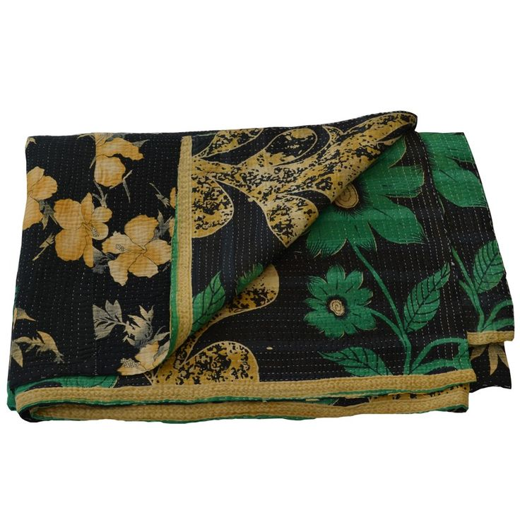"BLACK GREEN FLORAL VINTAGE KANTHA THROW - totally handmade & handembroidered by women in Indian villages using the ""kantha stitch & piecing together bits of old saris & other vintage materials.....so gorgeous!!"