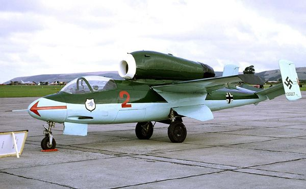 """Heinkel He 162 Salamander.Although Ernst Heinkel named He 162 """"Spatz"""" for Sparrow,mostly known as """"Salamander,""""because of creature's mythical ability to live through fire.Production aircraft were He-162A-1 armed with Mk108 30mm cannon & He-162A-2 armed with MG 151 20mm cannon.Few A-1s built because nose structure too light to handle recoil of 30mm cannons."""