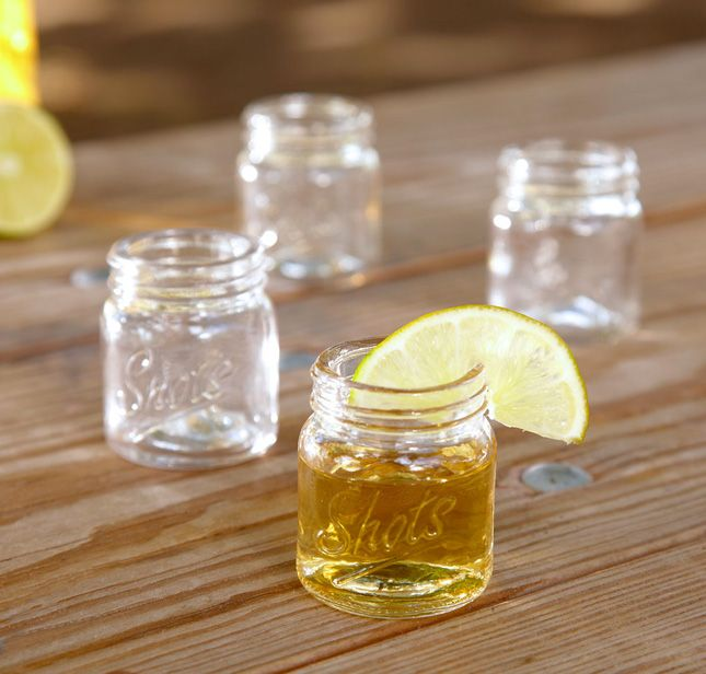 Mason jar shot glasses? Obsessed.