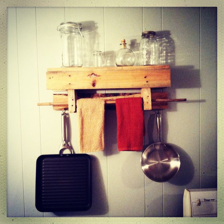 Our Home Brewed Mini Pallet Shelf/dish Towel Rack