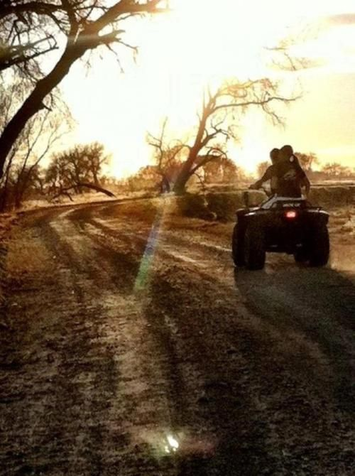 Riding 4wheelers down a dirt road with the one you love; every saturday night :)