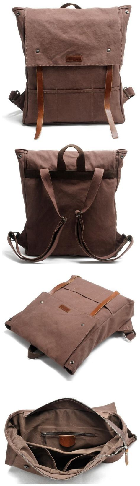 Canvas Leather Backpack School Backpack • Fabric Lining • Inside zipper pocket • It can hold a 14'' laptop, iPad, A4 document files, magazines, etc. ********************** Specifications: Length: 35cm