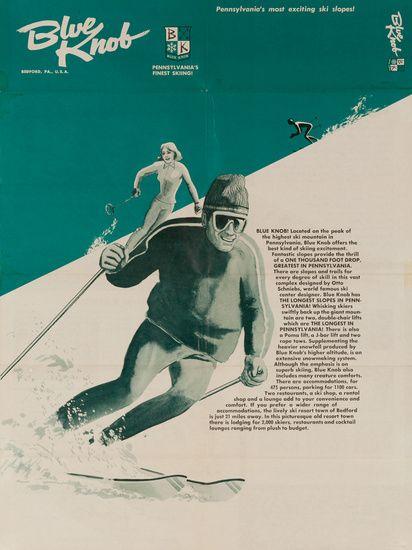 1960s Blue Knob ski Pennsylvania vintage travel sport poster