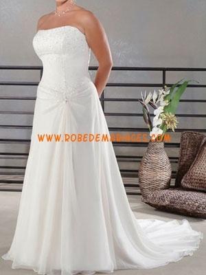 Robe de mariée grande taille bustier perlé mousseline