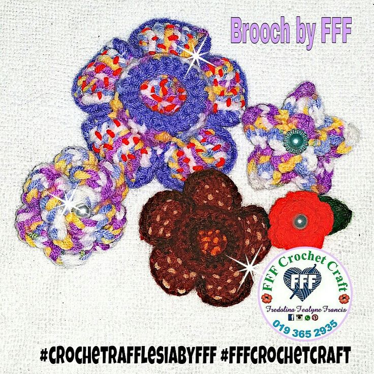 Crochet rafflesia flower brooch Crochet, Crochet crafts