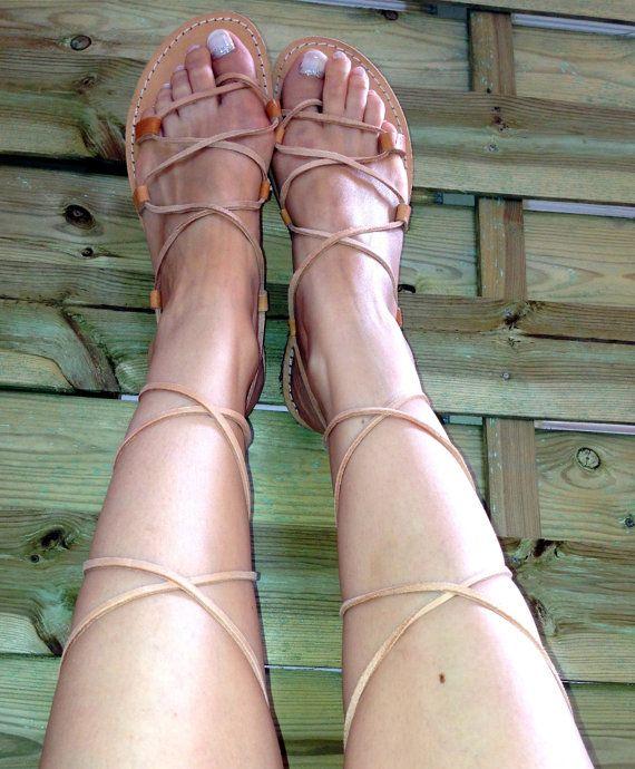 Gladiator Sandals,Greek women's leather sandals, Greek Spartan Sandals, Pixie shoes - Nude