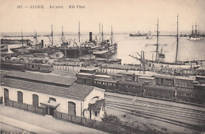 c.1900 - The port and part of the terminal railway station (Algiers, Algeria)
