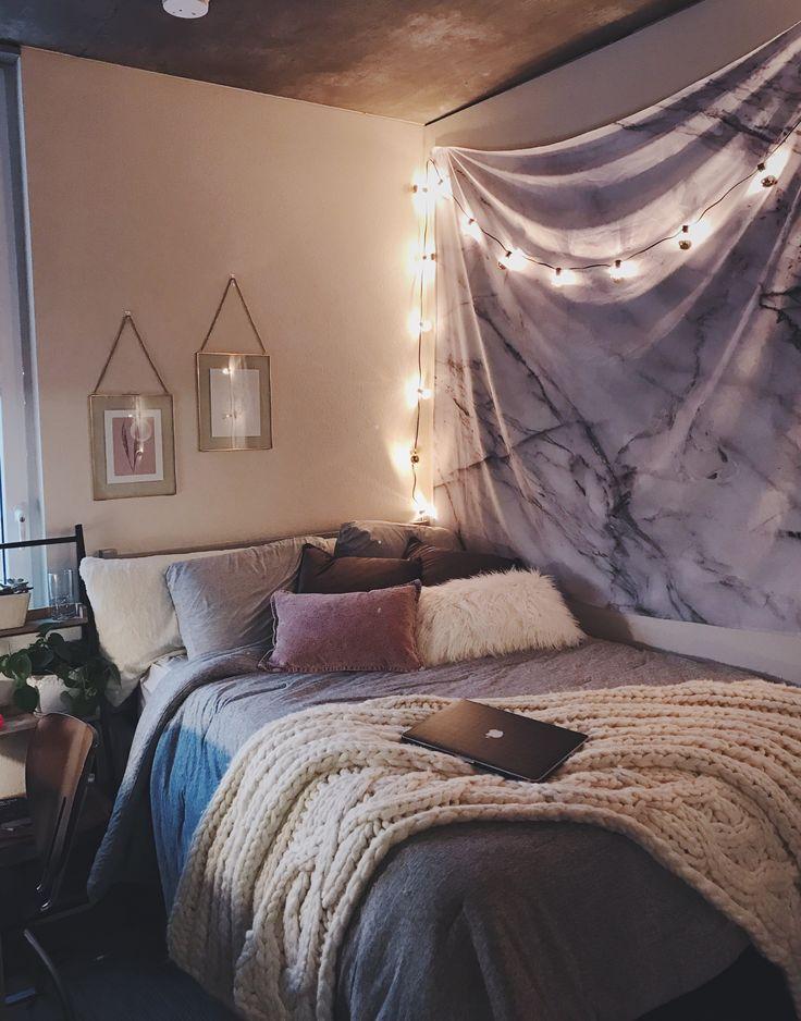 bedroom ideas  boho minimalist home decor  chunky knit blanket  string lights