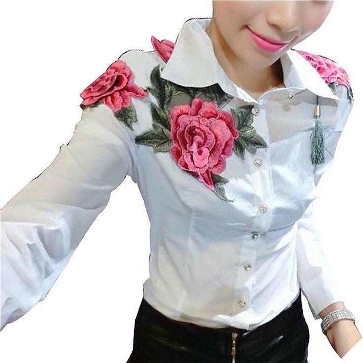 ==> [Free Shipping] Buy Best embroidery blouse embroidery shirt korean style korean clothing store floral flower blouse white shirt Batwing long sleeve Online with LOWEST Price | 32758136575