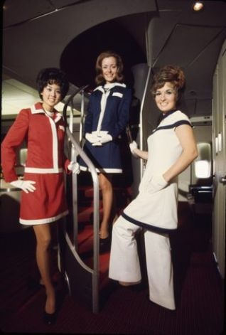 """American Airlines flight attendants model the """"American Field Flowers Collection by Leonard Fisher,"""" circa 1971-1974. The image goes with the Museum of Flight's second Style in the Aisle exhibit. (American Airlines C.R. Smith Museum) Photo: Museum Of Flight / SL"""