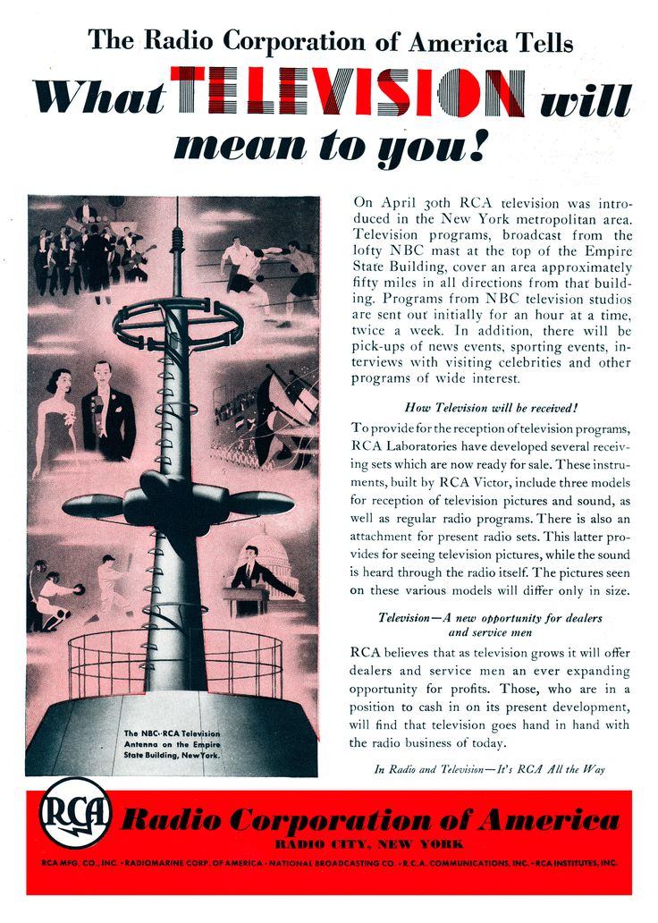 A 1939 magazine ad promoting television.
