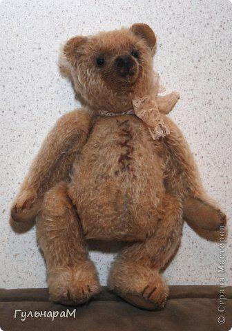 """Мишка Тедди """"Потапыч"""" Изготовлен из антикварного плюша, Наполнитель-опилки, мелкие морские камешки.лаванда. фото 2"""