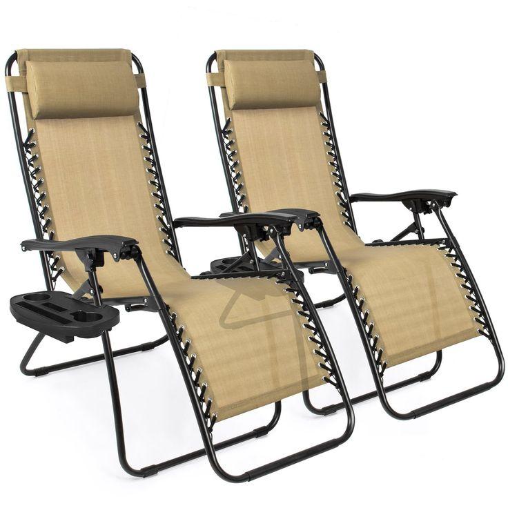 Set of 2 Adjustable Zero Gravity Patio Chair Recliners w