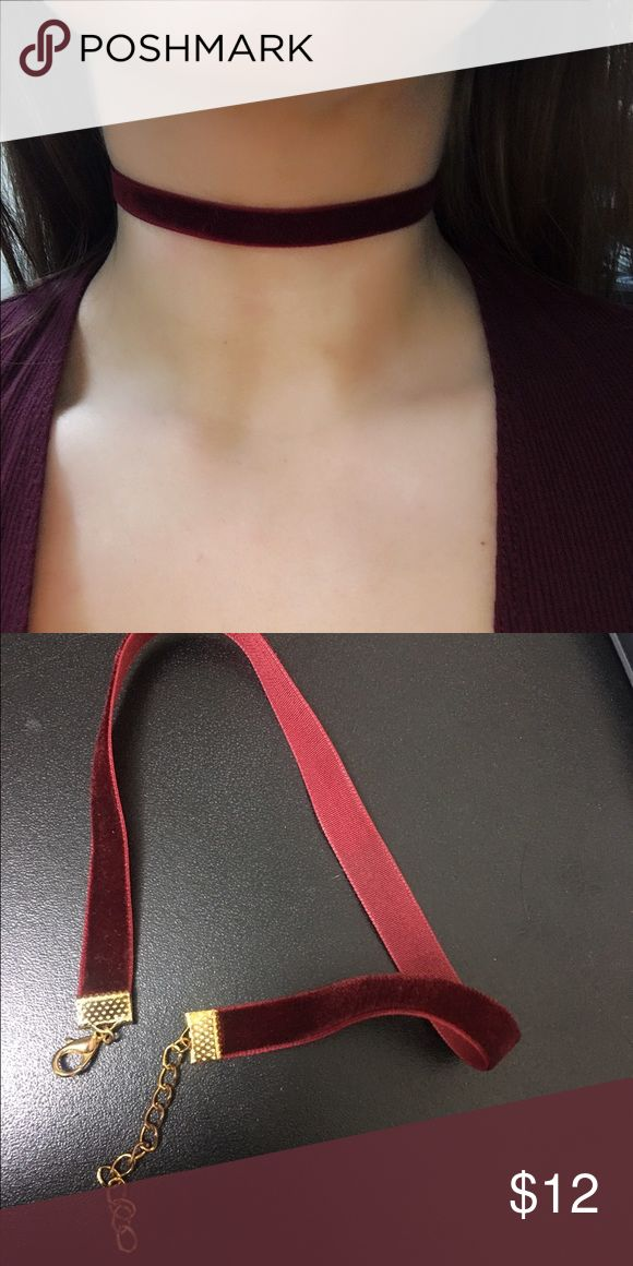 """Burgundy Velvet Choker  Handmade  12"""" with extender that extends to 15""""  Metal color can be customized, just leave a comment after you purchase if you have a preference of gold or silver. Otherwise, metal color will be chosen according to what I think matches best. ❌ No trades ❌ No offers on this particular item. Please bundle if you want a discount, check my closet discount for current bundle deals. Jewelry Necklaces"""