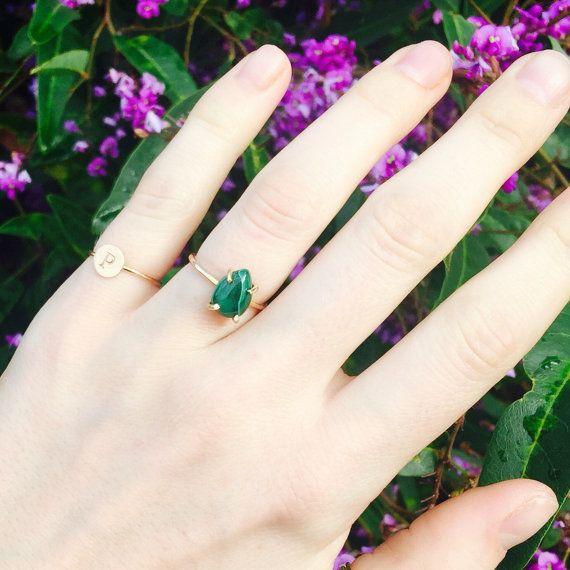 Malachite Ring Green Stone Ring Pear Shape Ring by PSJewelryShop