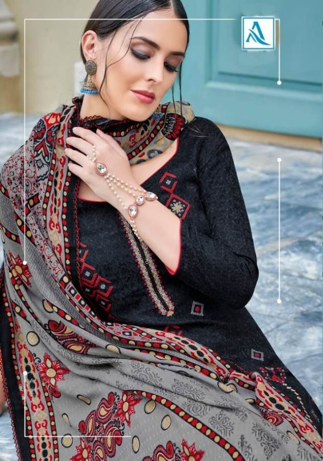 6362b3b99d Alok Suits Rutvaa Designer Printed Pure Pashmina with Embroidery Work Dress  Material Collection for Winter