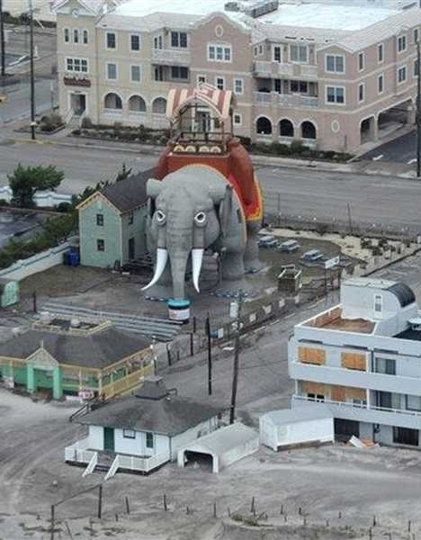 """Lucy the Elephant New Jersey. This aerial, mid-range photo is unusual. No, it's not IN Pennsylvania, but """"down the shore"""" is right next door."""