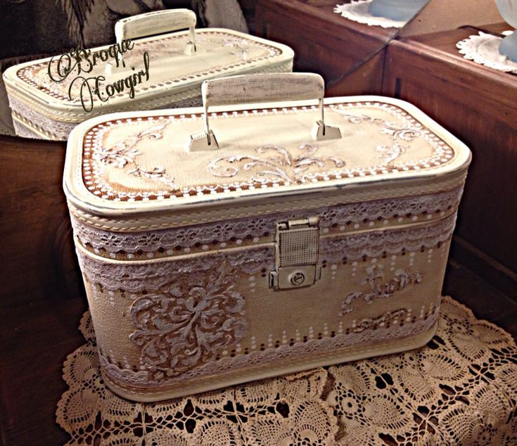 Vintage train case redo painted white upcycle decoupage stencils textured