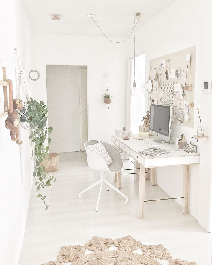 Belle décoration pour le bureau blanc bois déco plante