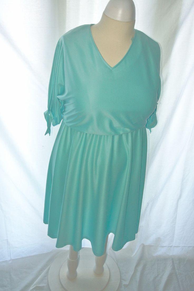 Vintage Dress /Vintage Day Dress/ Mint Green Vintage Dress / Plus Size Vintage by IfIWereJaneVintage on Etsy