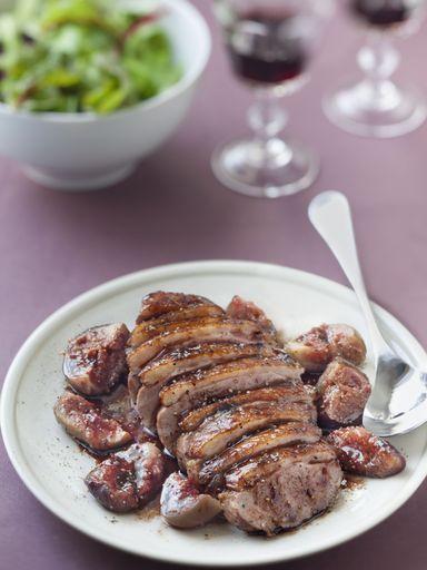 Recette de Magret de canard aux épices, figues rôties au miel et Porto