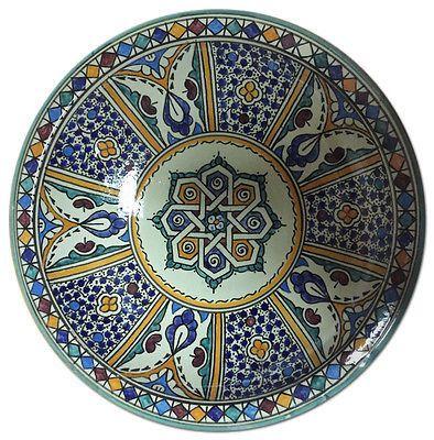 Moroccan Large Bowl Hand Painted Mediterranean Arabic Multicolor Design