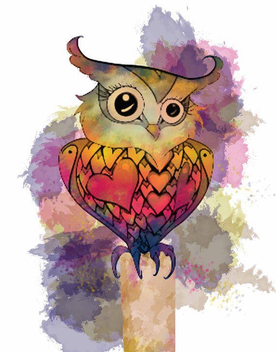 Owl Prints,Water colour prints,Owl,Owl art,Hoot prints,Instant download