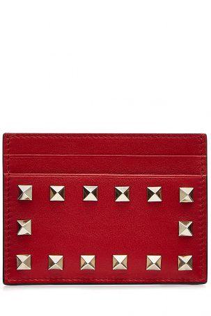 Valentino Valentino Kreditkarten-Etui Rockstud aus Leder – Rot