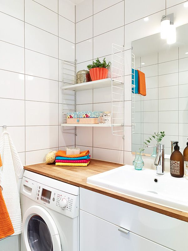 wooden worktop with washer/dryer. pic from stadshem.se