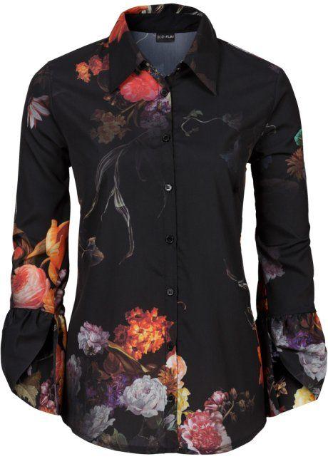 Блузка, BODYFLIRT, черный в цветочек