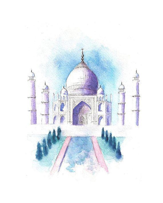 Watercolor Landscape Illustration Taj Mahal in by SketchesbyKate, $20.00