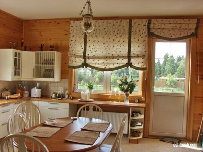 Шторы на кухню с балконной дверью: фото с идеями 2015 года