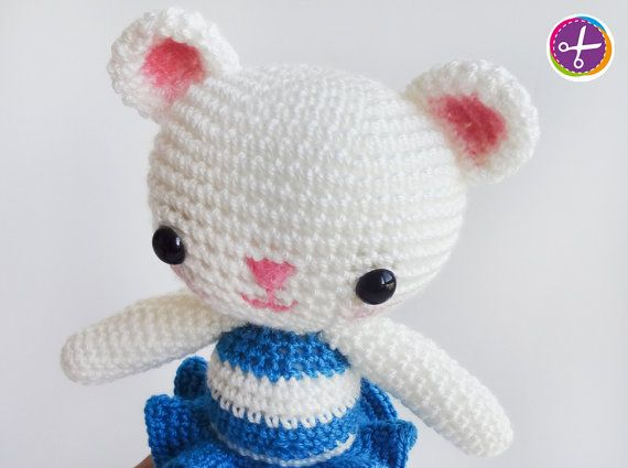 Bright Blue Miss Bear Amigurumi  Ready to Ship by HinaPalitah