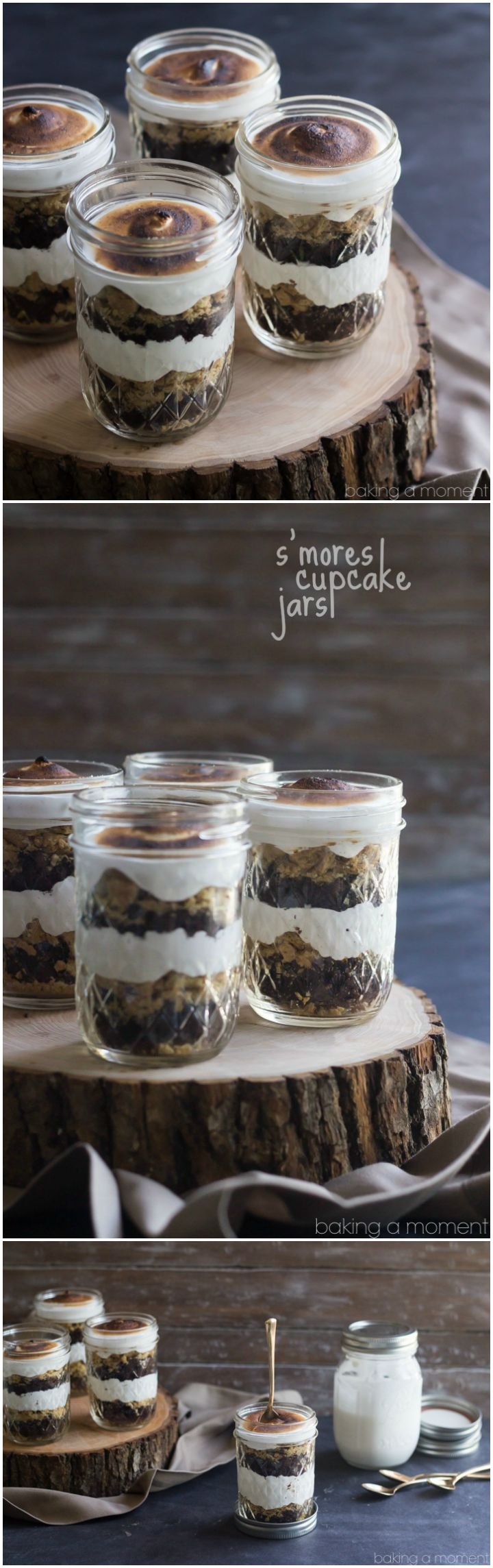 Perfect for a barbecue or potluck! These S'mores Cupcake Jars transport easily and they are TO DIE FOR! Soft and sweet, with just the right amount of crunch. They'll be the hit of the party! ~ http://bakingamoment.com