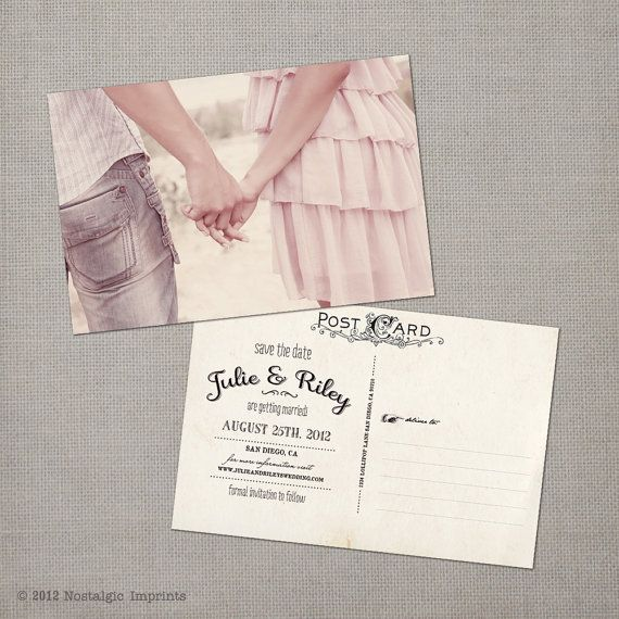 I hope i didn't pin this already. lol Vintage Save the Date Postcard  the Julie by NostalgicImprints, $38.00