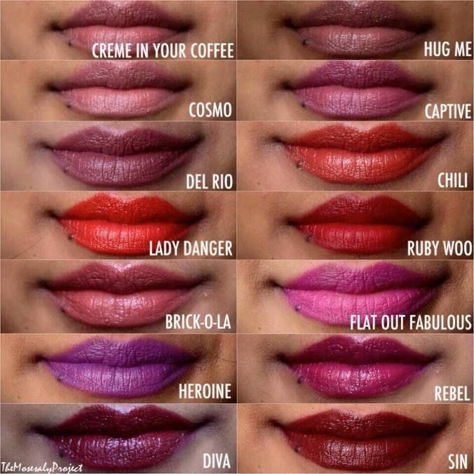 Some of the Top MAC Lipsticks for WOC with dark skin. (Latinas, East Asian, Black and South Asian women).