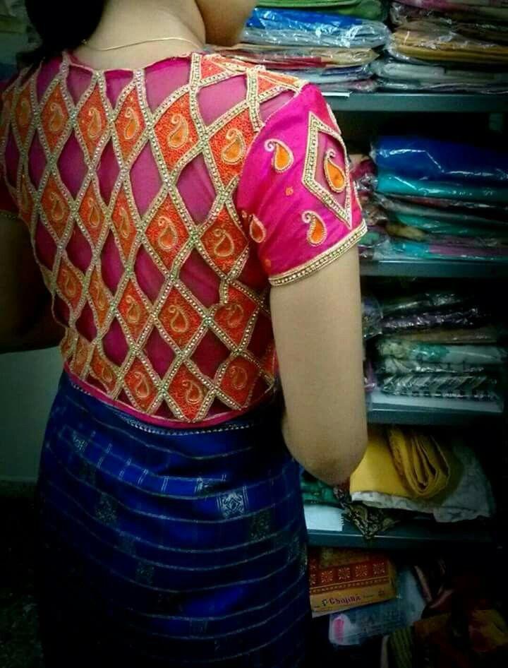 Gorgeous saree blouse design. Statement blouse. Indian fashion.