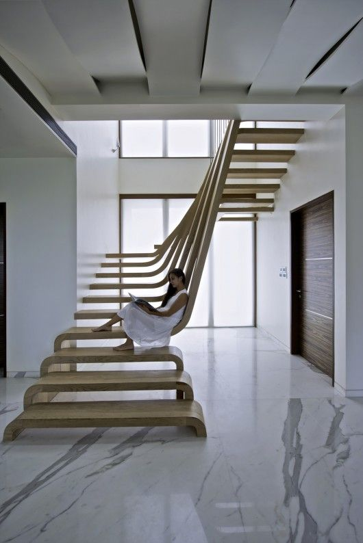 Stairs at SDM Apartment, Mumbai, India by Arquitectura en Movimiento Workshop
