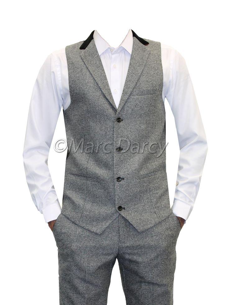 Mens Designer Herringbone Tweed Grey Waistcoat Trouser Set | Really like this set! @Goldenjester thoughts on something like this for the groomsmen?