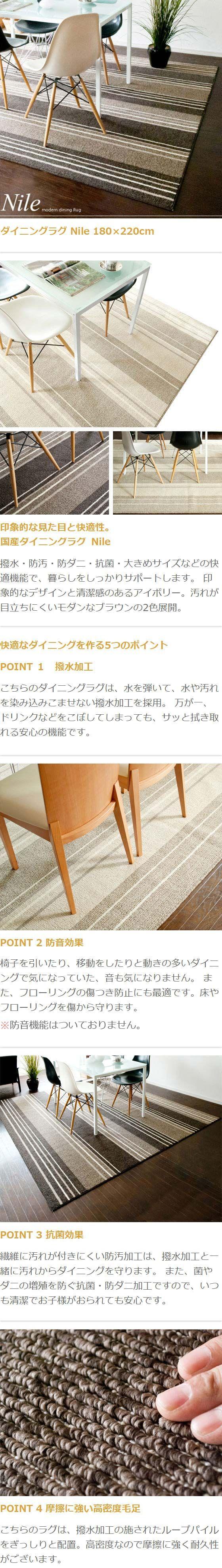 エア・リゾーム インテリア / カーペット ラグ ダイニング Nile〔ナイル〕 180×221cmタイプ アイボリー ブラウン 日本製