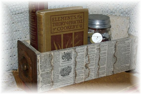 sewing machine drawer covered with old dictionary pages