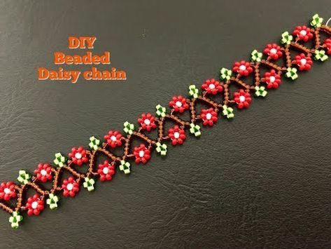 Beaded Daisy Chain.. DIY Beaded Bracelet. Daisy Chain Necklace – YouTube