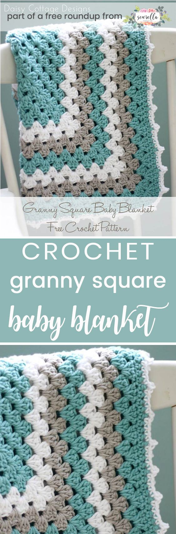 Crochet this easy beginner friendly granny stitch boys baby blanket from Daisy Cottage Designs from my crochet baby blankets for boys free pattern roundup!