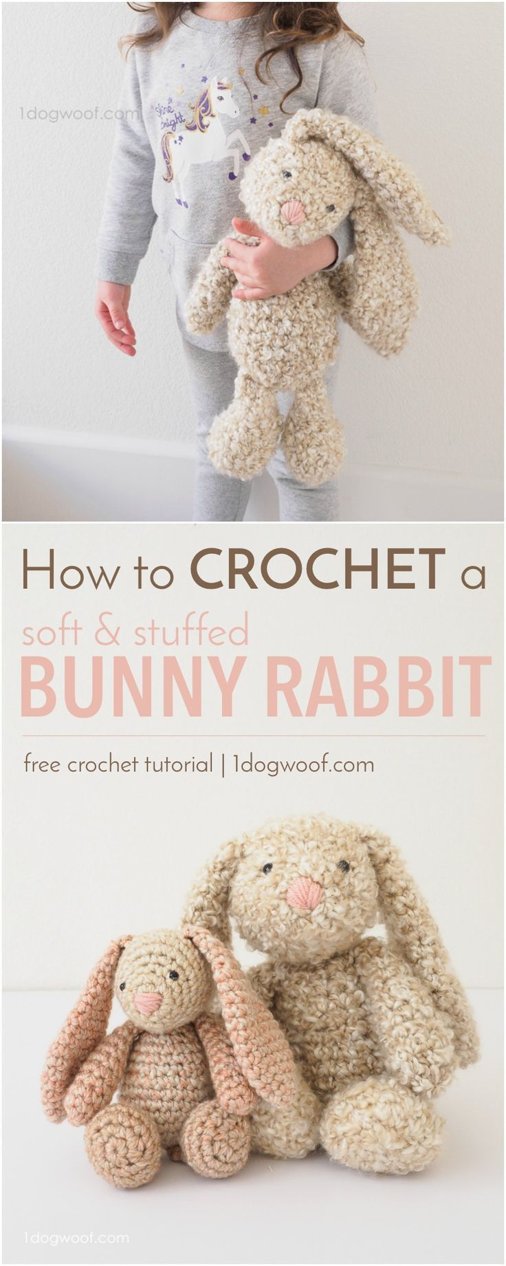 How to crochet a soft, squishy, floppy-eared, stuffed bunny rabbit using Lion Brand Homespun yarn. Perfect for Easter or a DIY baby shower gift!