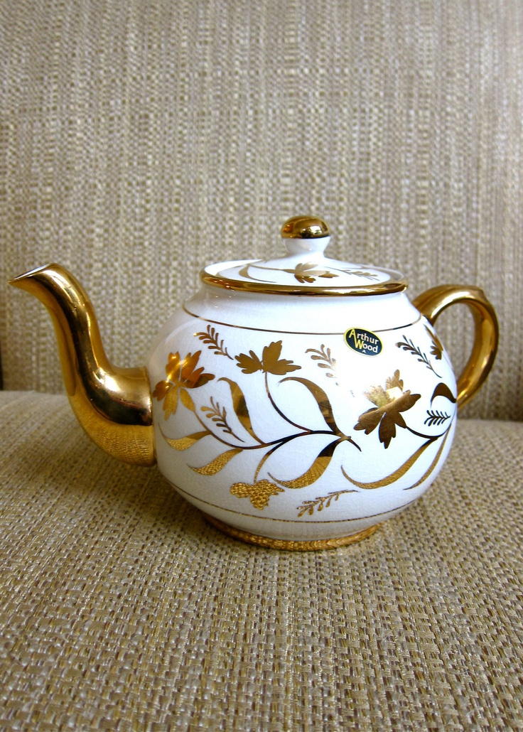 Gilt Floral Porcelain Teapot Arthur Wood England Handpainted 22K Gold Banding Knob Handle & Spout Tea Party Time